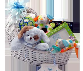 Polka dot precious baby boy gift basket